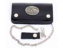 Genuine leather western style bi-fold bikers wallet includes 17 inches long chain.