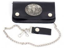 Genuine leather western style bi-fold bikers wallet includes 17 inches long steel chain.