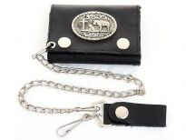 Genuine leather tri-fold chain wallet.