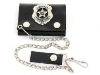 Genuine leather tri-fold chain wallet