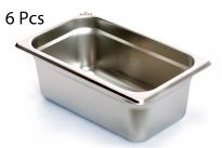 "Stainless Steel 1/4 x 4"" x 24 Gauge Food Pan 