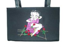 Betty Boop Microfibre Box Bag with magnetic lock. Made with fabric and double handle.