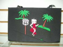 Betty Boop Microfibre Route 66 Bag with magnetic lock. Madw with fabric and double handle.