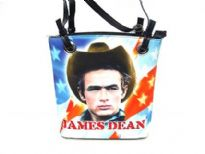 James Dean Bucket Bag. Double handle, top zipper closing.