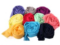 100% yarn dyed viscose scarf. Assorted Solid colors.