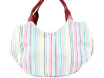 Stripe Print Fabric Handbag<br> Made in USA
