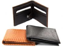Lizard embossed genuine leather bi-fold men wallet