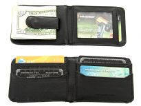 Carry your money in style. This is a leather (man-made) mens wallet featuring 9 credit card slots, one ID window outside and money clip feature. As this is genuine leather, please be aware that there will be some small creases and nicks in the leather but the wallet are all brand new.