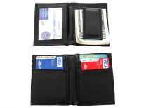 Carry your money in style. This is a man made leather 6 credit card, 1 ID holder with magnetic money clip feature. As this is genuine leather, please be aware that there will be some small creases and nicks in the leather but the wallet are all brand new.