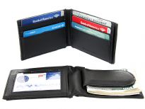 Carry your money in style. This is a made made leather magnetic money clip, 6 credit card, and 1 ID holder. As this is genuine leather, please be aware that there will be some small creases and nicks in the leather but the wallet are all brand new.