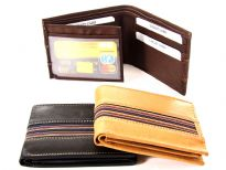Carry your money in style. This is a genuine leather 6 credit card 2 ID double bill bifold mens wallet. As this is genuine leather, please be aware that there will be some small creases and nicks in the leather but the wallet are all brand new.