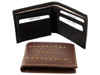 Genuine leather bi-fold men wallet with removable ID flap
