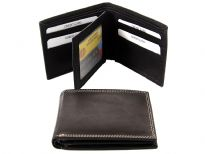 Carry your money in style. This is a genuine leather bifold double bill mens wallet. This wallet features 9 credit card slots, 1 ID windows in the center flap. As this is genuine leather, please be aware that there will be some small creases and nicks in the leather but the wallet are all brand new.
