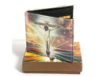Jesus Christ Printed Men faux leather bi-fold wallet with box.
