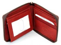 Genuine Leather Bi-fold all round zipper wallet