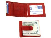 Carry your money in style. This is a genuine leather money clip with three slots inside/one slot outside for credit cards; one ID window inside. The money clip holds bills. As this is genuine leather, please be aware that there will be some small creases and nicks in the leather but the wallet are all brand new.