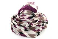 Rhombus print in wine & pastel shades spans across this lightweight & soft to use polyester scarf which has wine border all around. Eyelash fringe along the longer side decorates this scarf.