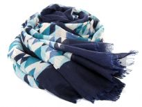 Rhombus print in shades of blue spans across this lightweight & soft to use polyester scarf which has navy border all around. Eyelash fringe along the longer side decorates this scarf. 100% Polyester. Hand wash. Imported.