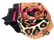 This square scarf has leopard print in the middle bordered by R-R print and solid colored black/fuchsia along its four sides. Hand wash. Imported.