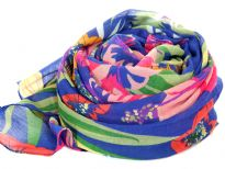 Garden Inspired Bright Multi Colored Floral Print blooms over this royal blue 100% polyester scarf. Big size of this scarf makes it possible to use it in multiple ways - as a shawl, snood, headgear or stole. Imported. Hand wash.