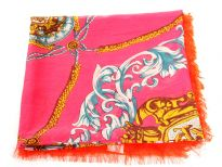 Bright hot pink colored 100% polyester square scarf is decorated with artistic flower & ropes pattern in multi colors. Orange colored border along its four sides with eyelash fringe also.