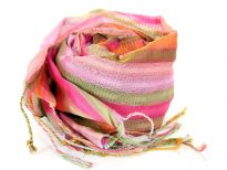 Multi Colored Stripes in shades of fuchsia, green, pink, orange colors spread over this lightweight & long scarf. Stitches like embroidery all along the stripes decorates this little shiny 100% polyester scarf. Long twisted fringes on its ends. Imported. Hand wash.