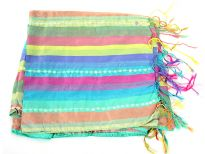 Stripes in multi colors galore over this shiny polyester scarf which also has lines of translucent sequins towards its ends. Thin fringes on its ends completes this 100% polyester scarf. Hand wash. Imported.