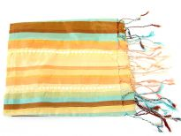 Stripes in shades of peach, aqua & bronze colors galore over this shiny polyester scarf which also has lines of translucent sequins towards its ends. Thin fringes on its ends completes this 100% polyester scarf. Hand wash. Imported.