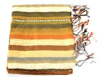 Stripes in shades of peach, olive & bronze colors galore over this shiny polyester scarf which also has lines of translucent sequins towards its ends. Thin fringes on its ends completes this 100% polyester scarf. Hand wash. Imported.