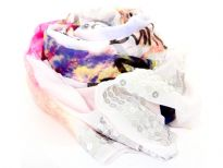 "This white colored 100% polyester scarf has abstract print in water color shades  with ""dance with me"" phrase at a few places. Four lines of sequins at its ends & eyelash fringe along the length completes this lightweight & soft to use scarf. Imported. Hand wash."