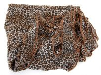 This leopard print 100% polyester scarf can add style to any kind of outfit during day or night. Asymmetrical ends with leaves like cut-out pattern. Very big in size so can be used in multiple ways as a cover-up, shawl or simply as a scarf. Imported.