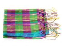 Green & Fuchsia plaids amalgamate over this 100% polyester scarf which has turquoise border along its length. Thin golden stripes run vertically over this sheer scarf. Thin twisted fringes on its edges. Imported.