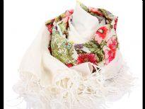 100% polyester printed square scarf with fringes
