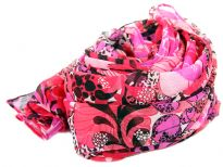 Floral print lightly textured scarf in shades of pink & black can enliven any kind of outfit. Can be used in multiple ways all year around. 100% polyester. Imported. Hand wash.