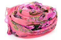 Unique patterned floral pink 100% polyester scarf. Hand wash. Imported.