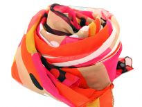 This Orange & Fuchsia 100% Polyester scarf has stripes & dots print in different arrays in shades of black, white & gold colors. Almost in a square shape this big scarf can be used in any possible way - a shawl, a sarong, a chunky scarf around neck etc. Imported. Hand Wash.