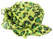 Cheetah Print in Black & Green over this  Lime Green Colored 100% Polyester Scarf. This scarf is pretty big in size so it can be used in multiple ways - as a shawl, stole, snood or headgear. Imported. Hand wash. 100% Polyester.
