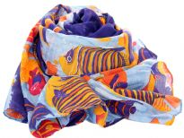 Big & small fishes in yellow & orange swim over sea blue background of this 100% polyester scarf which has navy border along its length. Appropriate for any theme based party or just matched with any casual attire. Imported. Hand wash.