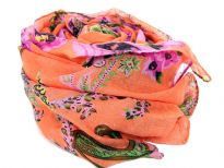 Flowers & Paisley Print in multi colors styles this sumptuous orange colored scarf woven from soft polyester. Bright colored scarf can enliven any kind of outfit its matched with. 100% polyester. Imported. Hand wash.