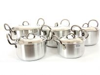 Aluminum Stock Pot Small 5 Pieces Set. Stainless Steel Lid with fixed knob. Riveted SS Handles for Long Life.
