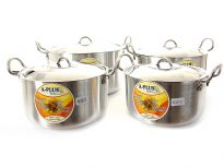 Aluminum Stock Pot Big 4 Pieces Set. Stainless Steel Lid with fixed knob. Riveted SS Handles for Long Life.