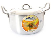 Aluminum Stock Pot with Stainless Steel Lid 10 inches  - 6.75 Qrt.