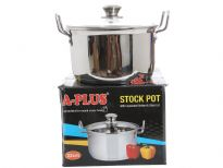 Stainless Steel Stock Pot with Capsulated Bottom & Glass Lid