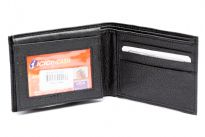Carry your money in style. This is a faux leather bifold double bill mens wallet wallet. Features 6 credit card slots and 2 ID Windows. The faux leather is soft to the touch.
