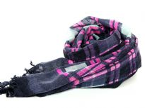 Checkered print 100% wool scarf in Navy, Fuchsia & Grey colors with hanging tussels at the ends of the scarf. Imported. Hand wash.