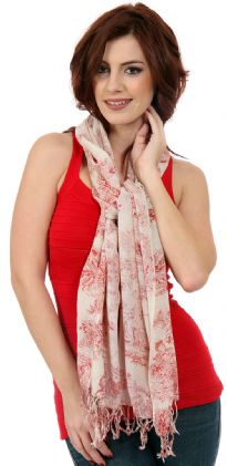 Red & White Garden Inspired Wool Scarf with Roman figures sitting under trees print. Twisted fringes at the edges.