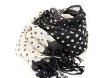 This black scarf with cream dots has all different sizes of dots over it with color changing to cream colored scarf with black dots towards the ends of the scarf. Black hanging fringe at the ends. 100% wool scarf. Hand wash. Imported.
