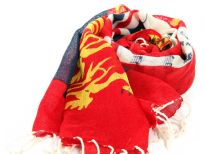 This wool scarf celebrates the Queens Diamond Jubilee Celebrations 2012 with text written, British flags & lions print. Red, blue, white & yellow colors decorates this 100% wool scarf which is Imported & should be hand washed.