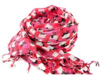 This vibrant fuchsia & cream colored boxy print 100% wool scarf has little horses running all over it. Twisted fringe dangles from the ends of the scarf. Imported. Hand wash.