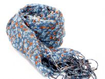 Light blue & orange colored miniature flowers blooms over this 100% wool weave of blue colored scarf finished with long twisted fringe at its ends. Imported. Dry clean only.